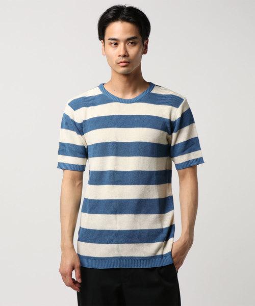 【CONTRIBE】ハイゲージ サーマル編み ボーダー クルーネックセーター半袖