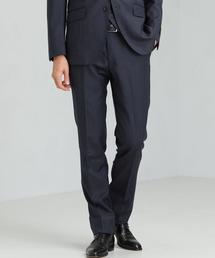 [マルゾット] MARZOTTO 撚杢無地 スリムノープリーツ スーツパンツ スラックス