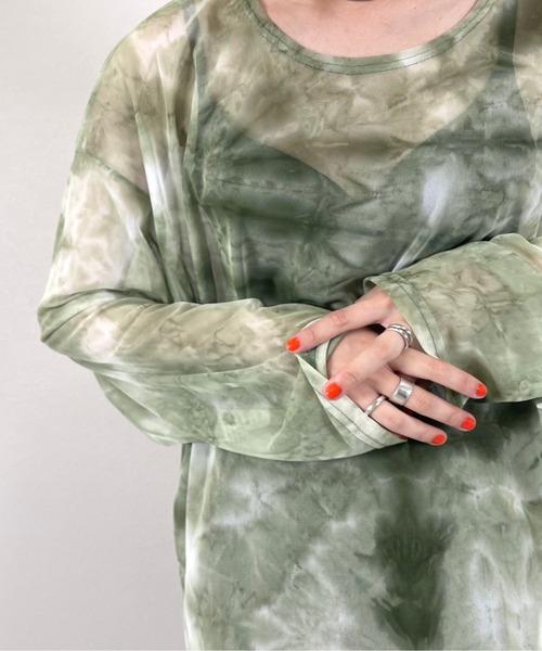 【XU】see-through tie-dye long sleeve tee