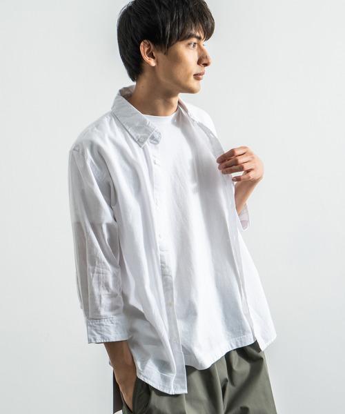 七分袖ブロードチェックシャツ