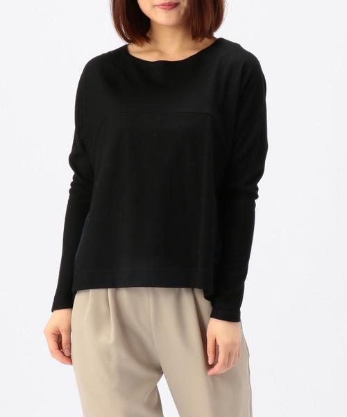 nota(ノータ)の「nota della mano sinistra/ドルマン切替トップス(Tシャツ/カットソー)」 ブラック