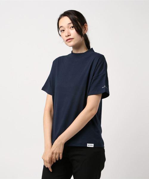 モックネックT/袖ロゴプリント