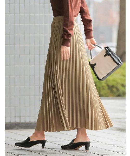 Re:EDIT(リエディ)の「ロング丈ジョーゼットプリーツスカート(スカート)」|ベージュ