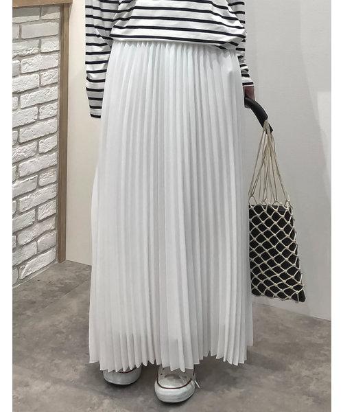 Re:EDIT(リエディ)の「ロング丈ジョーゼットプリーツスカート(スカート)」 アイボリー
