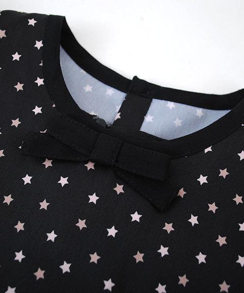 BeBe/ストレッチポンチワンピース+星柄シャツ