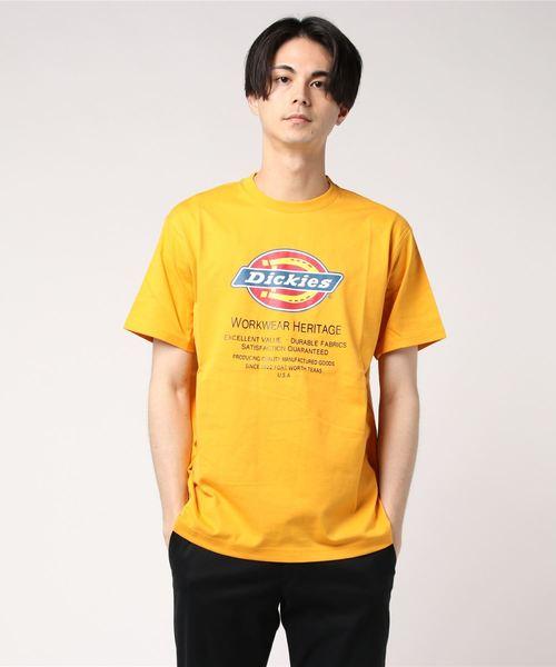Dickies(ディッキーズ)の「Dickiesロゴプリント半袖Tシャツ(Tシャツ/カットソー)」|オレンジ
