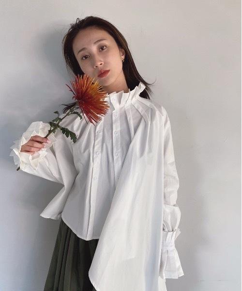 【SANSeLF】 asymmetry frill blouse sanw19
