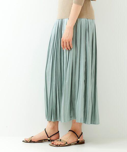 レザーライクサテンプリーツスカート