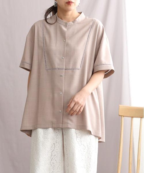 リネンライクレースシャツ