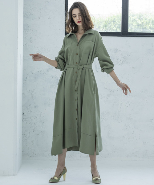 【STYLEBAR】ミリタリーロングシャツドレス