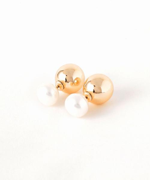 <Causerie>淡水パール×メタリックボールピアス