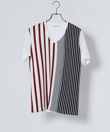 MEN'S MELROSE(メンズ メルローズ)のストライプパターンTシャツ(Tシャツ/カットソー)
