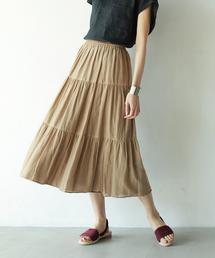 【2WAY】インディアンコットンリバーシブルスカート ( フレアスカート ティアードスカート )