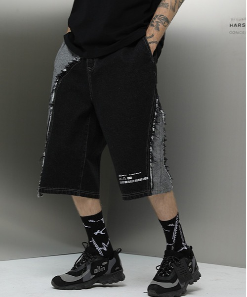 【Harsh and Cruel】【2021SS 】Patch Work Denim Shorts HC200106XA393