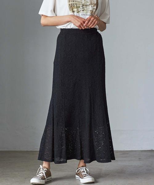 GeeRA(ジーラ)の「【WEB限定】プリーツレーススカート(スカート)」|ブラック
