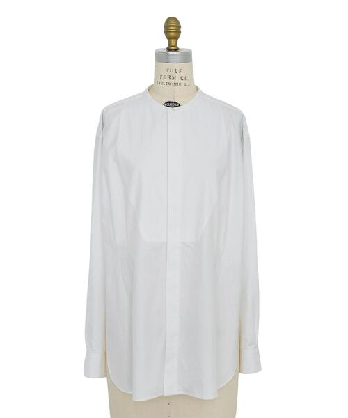 Drawer コットンブザム比翼スタンドカラーシャツ