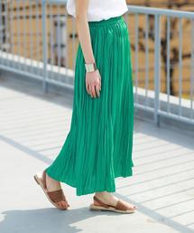 【WEB限定カラー⇒グリーン】クリンクルプリーツロングスカート