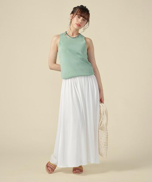 「【身長別に選べる】タックギャザースカート/ホワイト[WOMEN](スカート)」