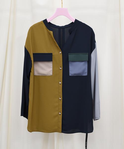 【Eimee Law】マルチ配色スキッパーシャツ