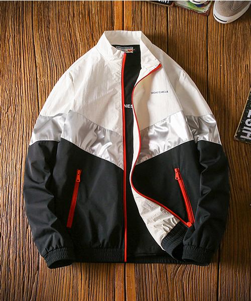 【neos -addictive design-】ライン切替 ナイロントラックトップジャケット