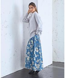 SMF PE フラワープリント マキシギャザースカート / 花柄