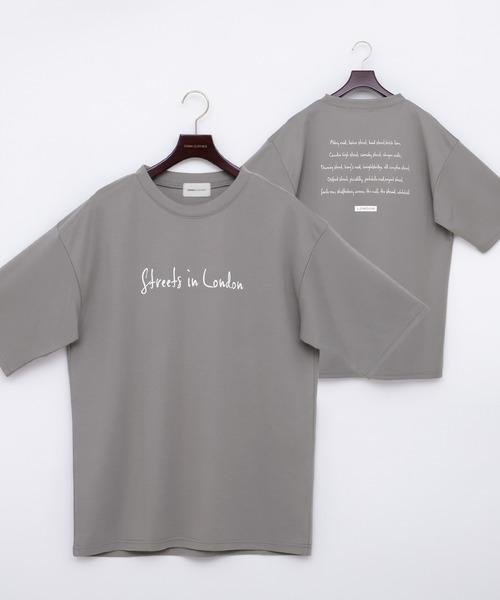 ポンチローマ オーバーサイズ メッセージプリントデザインカットソー 1/2 sleeve(EMMA CLOTHES)