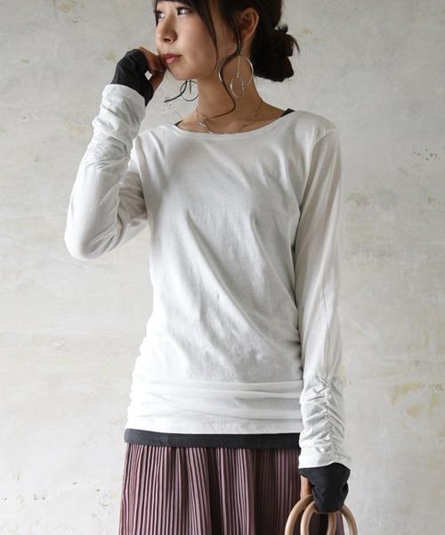 and it_(アンドイット)の「フェイクレイヤードくしゅくしゅ長袖Tシャツカットソー【ロンT】(Tシャツ/カットソー)」 ホワイト