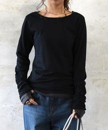 and it_(アンドイット)のフェイクレイヤードくしゅくしゅ長袖Tシャツカットソー(Tシャツ/カットソー)