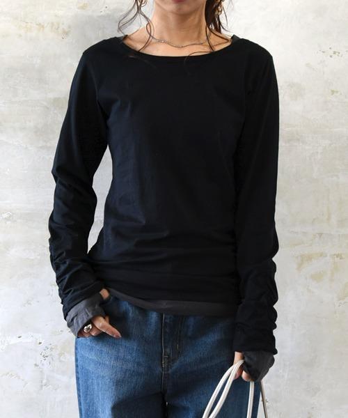 and it_(アンドイット)の「フェイクレイヤードくしゅくしゅ長袖Tシャツカットソー【ロンT】(Tシャツ/カットソー)」|ブラック