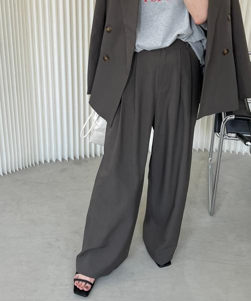 【chuclla】Set-up wide slacks chw21a050