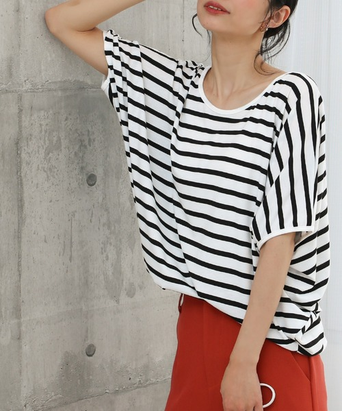 Social GIRL(ソーシャルガール)の「ワイドスリーブコンシャスドルマンオーバーサイズビックシルエットTシャツ(Tシャツ/カットソー)」|ホワイト×ブラック