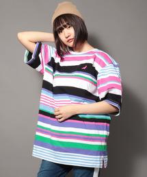 【STAPLE】ビッグシルエット マルチストライプ&ボーダーワンポイント刺繍クルーネックTシャツ(Tシャツ/カットソー)