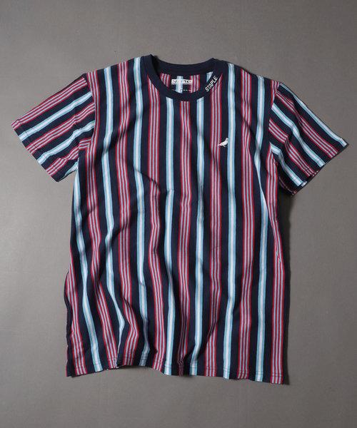 【STAPLE】ビッグシルエット マルチストライプ&ボーダーワンポイント刺繍クルーネックTシャツ