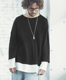 ANGENEHM(アンゲネーム)のmlt2610-Fake Layered Over Size Waffle Cut sew (MADE IN JAPAN) カットソー(Tシャツ/カットソー)
