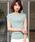 Pierrot(ピエロ)の「フレンチスリーブ リブニットトップス サマーニット フレンチ袖 薄手ニット(ニット/セーター)」|ミント
