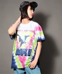 【STAPLE】ビッグシルエット タイダイ染め ピジョンパッチ刺繍クルーネックTシャツ(Tシャツ/カットソー)