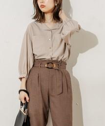 natural couture(ナチュラルクチュール)のお上品ちょい開襟ブラウス(シャツ/ブラウス)