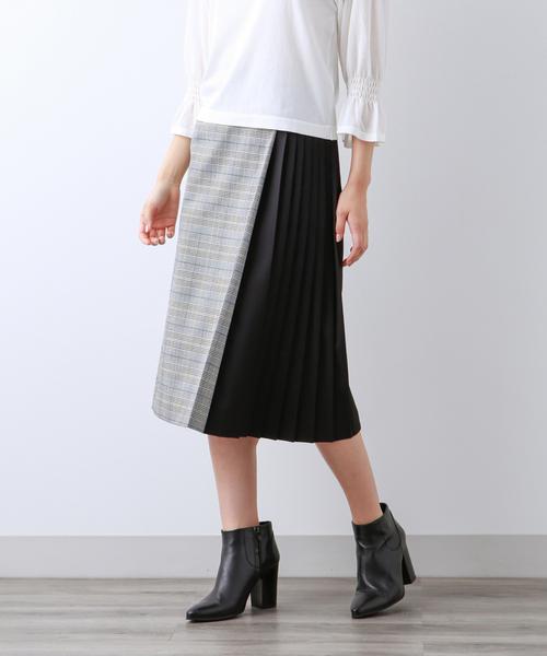 珍しい 【Sサイズ~】チェックストレッチ プリーツコンビスカート, 弓戸人形 a1ee33b2