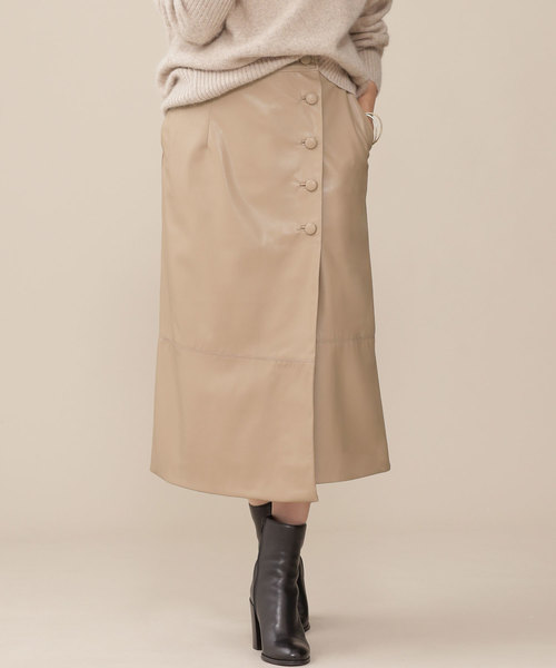 nano・universe(ナノユニバース)の「カバーボタンフェイクレザースカート(スカート)」|ライトベージュ