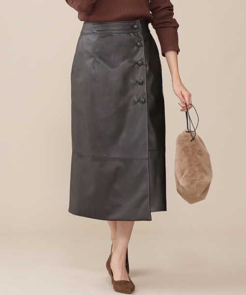 nano・universe(ナノユニバース)の「カバーボタンフェイクレザースカート(スカート)」|ブラック