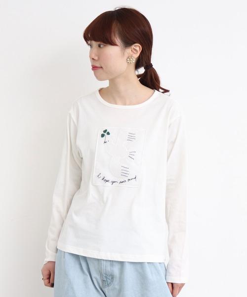 eiπe ハトとクローバー刺繍Tシャツ