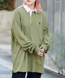 U.S. POLO ASSN. /ユーエスポロアッスン 別注 ワンポイント刺繍 オーバーサイズ ラガーシャツカーキ