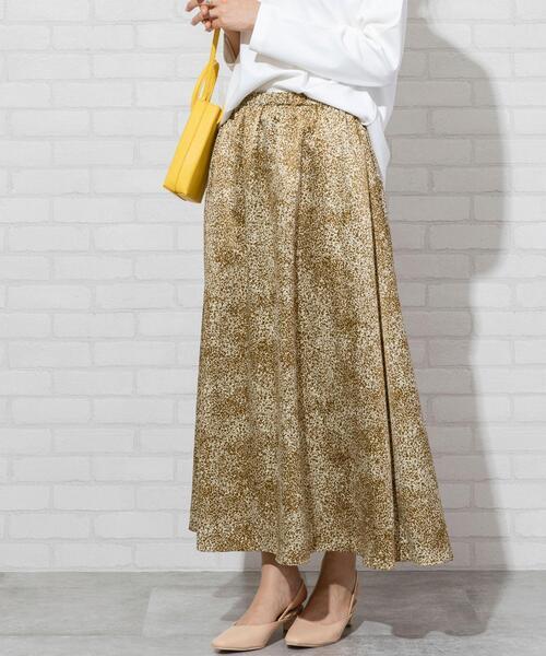 【WEB限定カラー】プリントサテンロングスカート(サテンスカート/プリントスカート)#