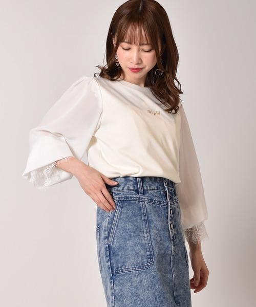 袖シフォン刺繍カットソー
