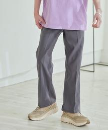 Wrangler/ラングラー WRANCHER DRESS スタプレ ランチャーストレッチツイル センタープレスセミフレアパンツグレー
