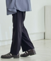 Wrangler/ラングラー WRANCHER DRESS スタプレ ランチャーストレッチツイル センタープレスセミフレアパンツブラック