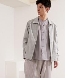 コットンツイル/デニム/ストライプ/チェック ジップブルゾン ジャケット/スイングトップ/スウィングトップ2020AW(EMMA CLOTHES)グレー