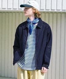 コットンツイル/デニム/ストライプ/チェック ジップブルゾン ジャケット/スイングトップ/スウィングトップ2020AW(EMMA CLOTHES)インディゴブルー