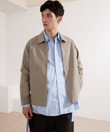 コットンツイル/デニム/ストライプ/チェック ジップブルゾン ジャケット/スイングトップ/スウィングトップ2020AW(EMMA CLOTHES)チャコール
