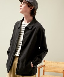 コットンツイル/デニム/ストライプ/チェック ジップブルゾン ジャケット/スイングトップ/スウィングトップ2020AW(EMMA CLOTHES)ブラック